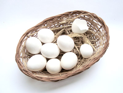 Eggs in Wooden Basket