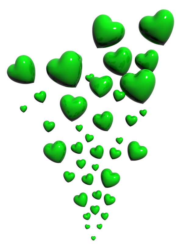 Green Hearts Flowing Psd And Picture Free Downloads And