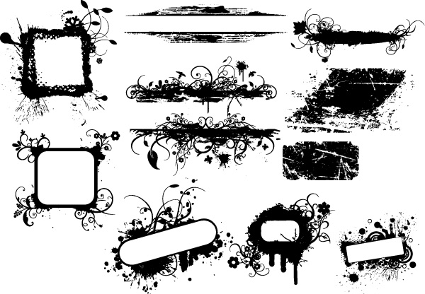 Grunge Banners Brushes, PNG, Vectors and Pictures
