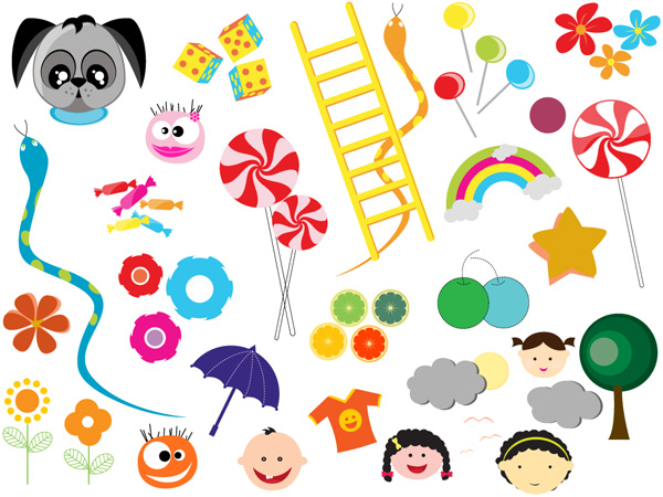 Kids Graphic Elements Vector Brushes