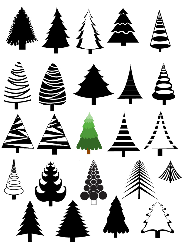 Christmas Trees Vectors Brushes Shapes Png Amp Picture