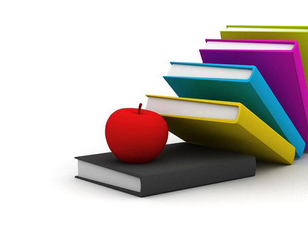 books and apple picture