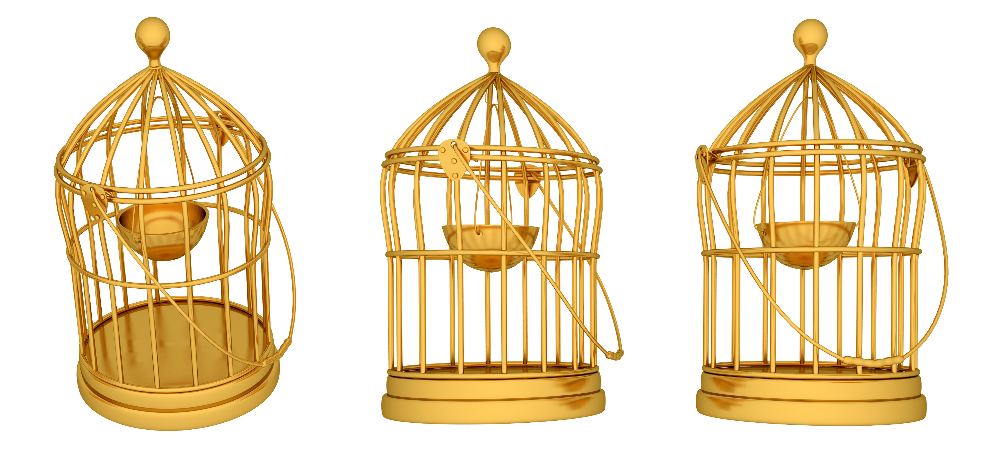 golden birds cages psd and picture